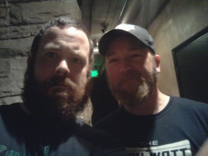Kyle Kinane and Damian, aka Beauty and the Beast; backstage at Comedy Works in Denver!