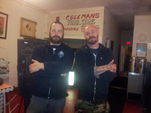 Beautiful Bearded Badasses! Dammit Damian and Charlie Paulson from Goldfinger at Colemans Soul Food in Denver!