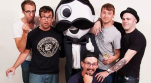 Members of The COPYRIGHTS molesting the poor Natty Boh mascot!