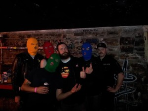Masked Intruder and Officer Bradford at the Aggie Theater in Fort Collins. You can't see it, but Blue is intruding my back pockets at this moment.....