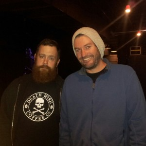 Chuck Robertson of Mad Caddies and a haggard looking Dammit Damian.