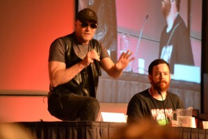 "Here's Damian ""hosting"" the Michael Rooker (Walking Dead/Guardians of The Galaxy) Panel at Denver Comic Con. This is right after Rooker took the microphone away from me. Image from Hushcomics.com"