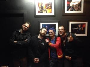 HARD GIRLS members  Max,  (with Dammit Damian in center) Mike and Morgan posing along side musical idol Scott Ian Of Anthrax at the Moon Room/Summit Music Hall in Denver