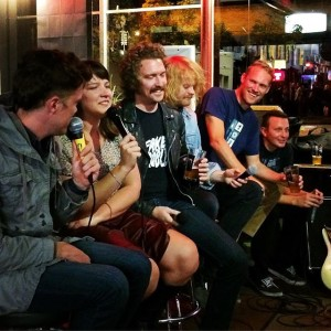 """The cast of Mostly Harmless Live's """"Scary Stories To Tell in the Dark"""" Live Talk show: Josiah Hesse, Mara Wiles & The Knew (Jacob Hansen, Tyler Breuer, Tim Rynders, and Andy Thomas) Photo by Geoff Allen/Fun is Ok"""